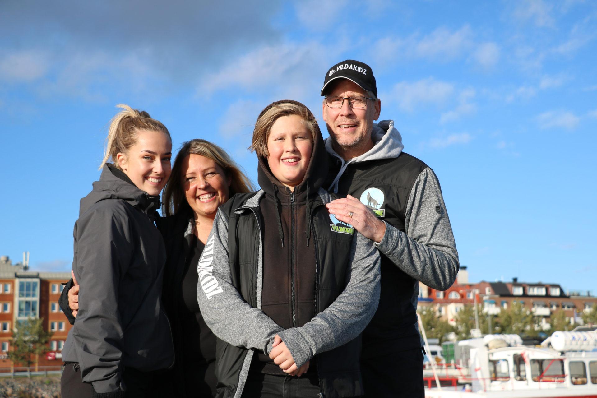 Familjen som har grundat och driver VildaKidz: Rebecca, Anna, Marcus och Stefan Karlsson.