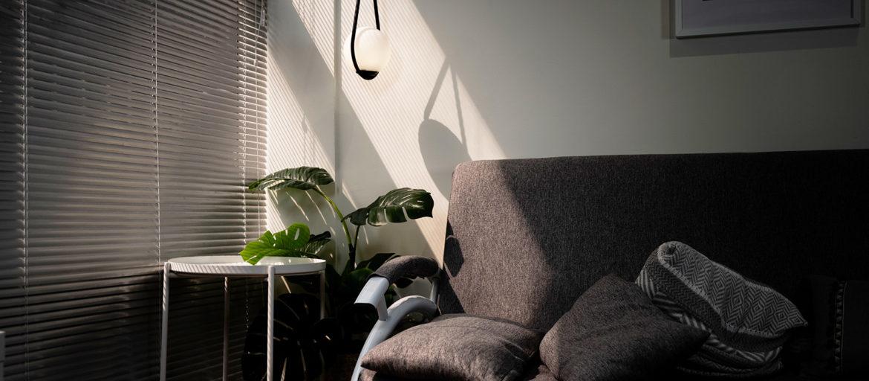 En soffa och en grön växt i ett rum där en solkatt syns på väggen