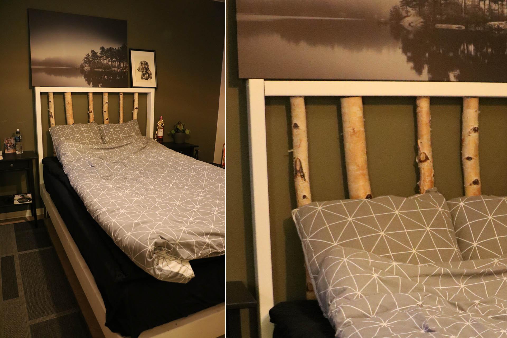 Filips säng är hemmasnickrad och har en stomme av björkstammar.