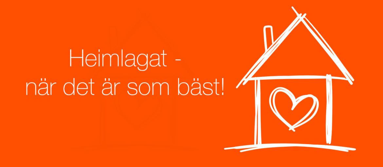 En orange bakgrund med ett vitt hus