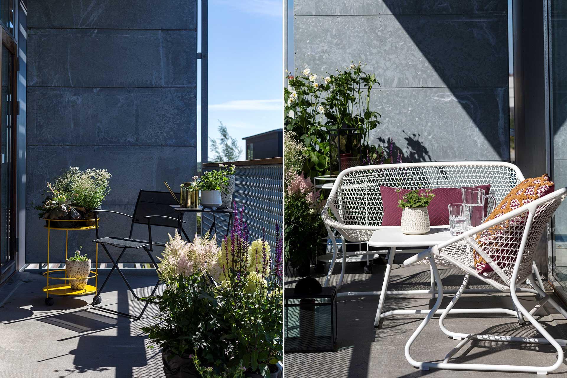 Satsa gärna på nätta och hopfällbara möbler som ger en luftig känsla till den lilla balkongen.