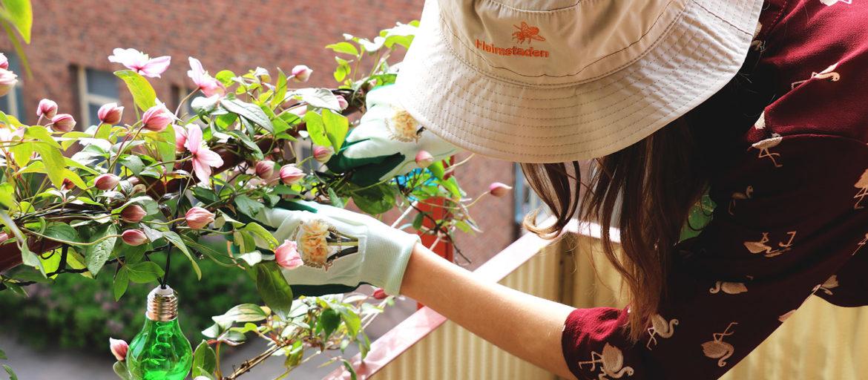 En tjej med en solhatt som pysslar med sina blommor på balkongen