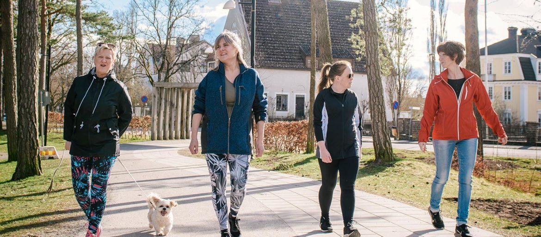 Fyra kvinnor och en hund går på en rad på en gata