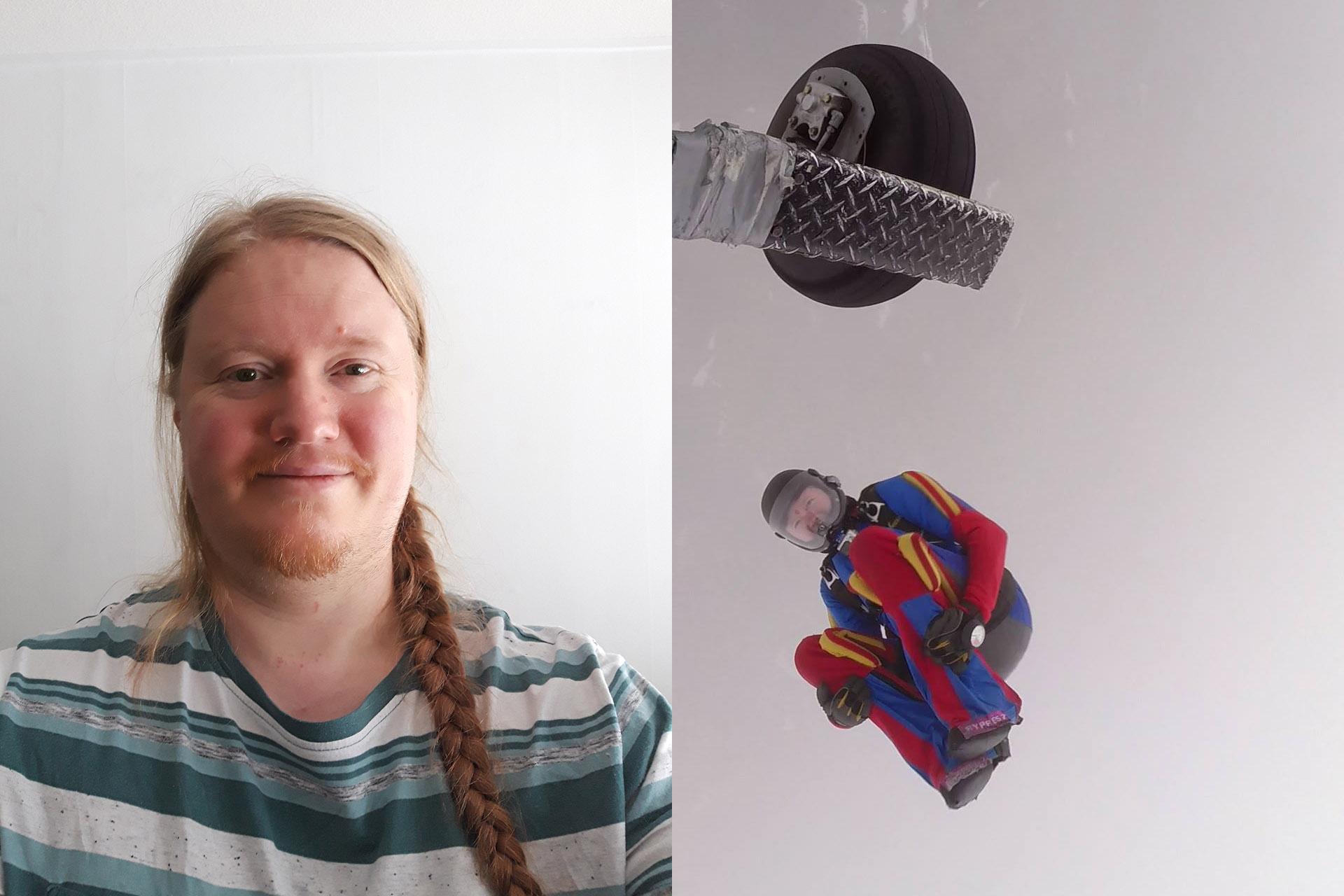 Åke Malmgren brukar ofta drömma att han kan flyga. Att hoppa fallskärm är det närmaste han kommer känslan i drömmarna. Nu har han över 1000 hopp i bagaget och har inga som helst planer på att sluta. Foto: Hoppkompis & Privat