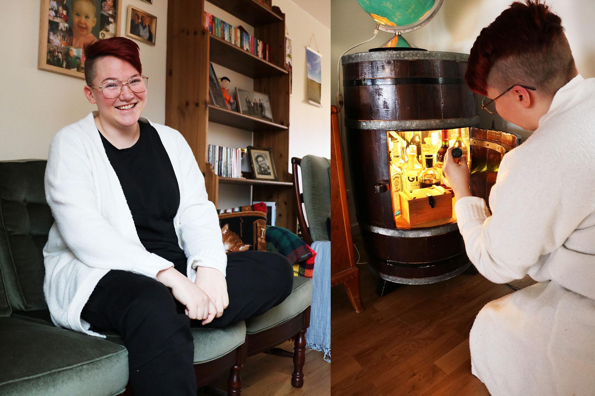 Frida Berglund räddar gärna möbler som annars skulle ha slängts. Barskåpet i form av en tunna fick hon av ett par i sin hemby. Frun hade tröttnat på mannens voluminösa inredningsdetalj. Så den fick ta plats hos Frida i stället.